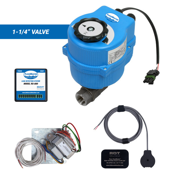 """Plenum-rated water main leak detection and automatic shutoff kit with 1-1/4"""" valve"""