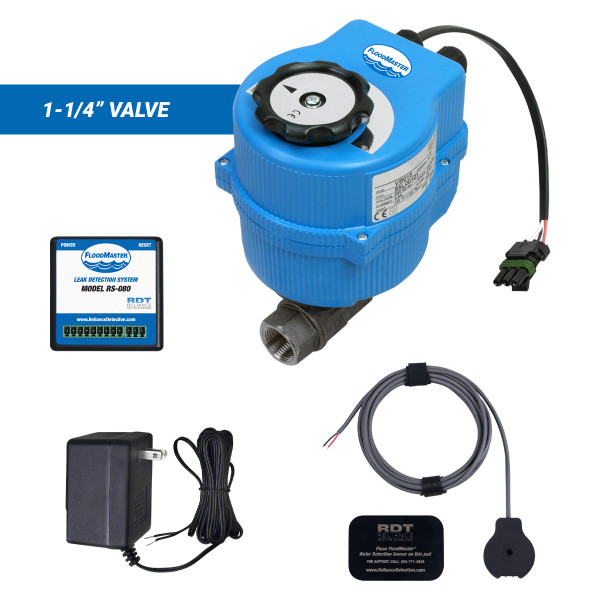 """Water main leak detection and automatic shutoff kit with 1-1/4"""" valve"""