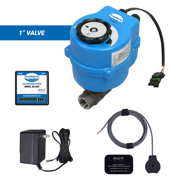"""Water main leak detection and automatic shutoff kit with 1"""" valve"""