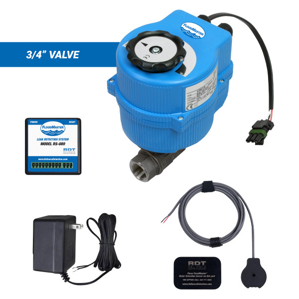 """Water main leak detection and automatic shutoff kit with 3/4"""" valve"""