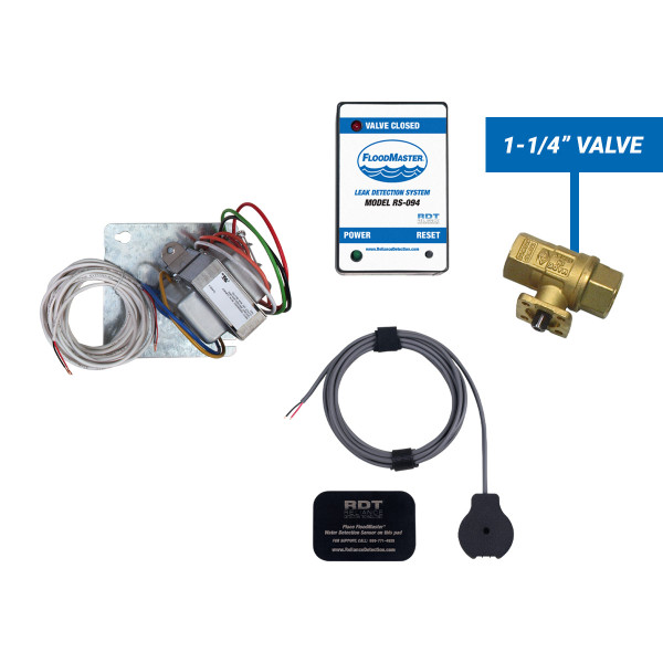 "Plenum-rated water heater leak detection kit with 1-1/4"" shut-off valve"