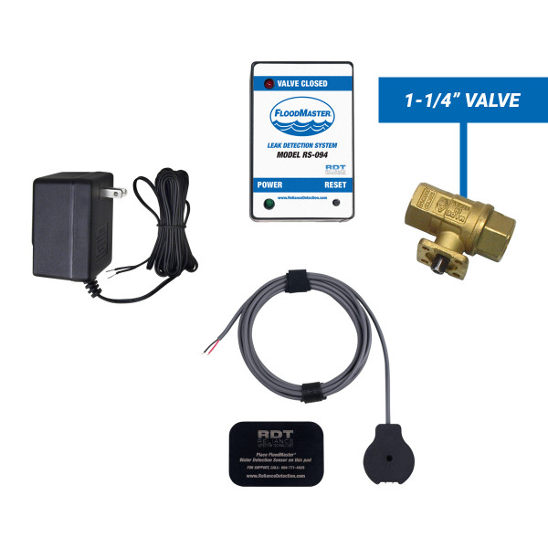 "Water heater leak detection kit with 1-1/4"" shut-off valve"