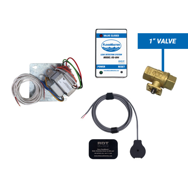 """Plenum-rated water heater leak detection kit with 1"""" shut-off valve"""