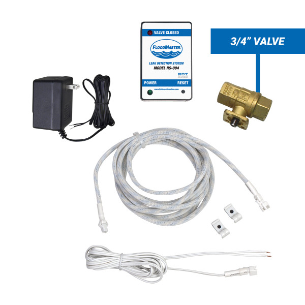 "Water heater leak detection kit with 3/4"" shut-off valve and rope sensor"