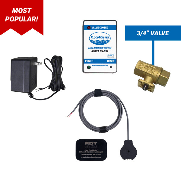 "Water heater leak detection kit with 3/4"" shut-off valve"