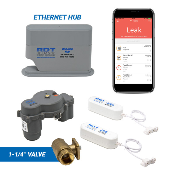 "Wireless, app-based leak detection system with 1-1/4"" automatic shutoff valve and ethernet hub"
