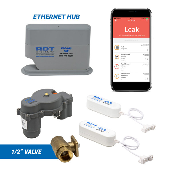 "Wireless, app-based leak detection system with 1/2"" automatic shutoff valve and ethernet hub"