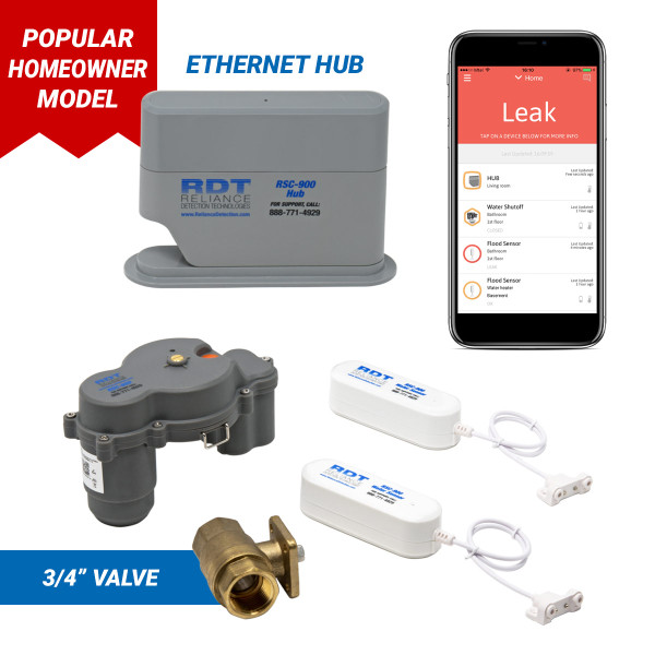 "Wireless, app-based leak detection system with 3/4"" automatic shutoff valve and ethernet hub"