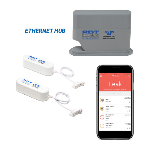 Wireless, App-Based Water Leak Detection System with Ethernet Communications Hub