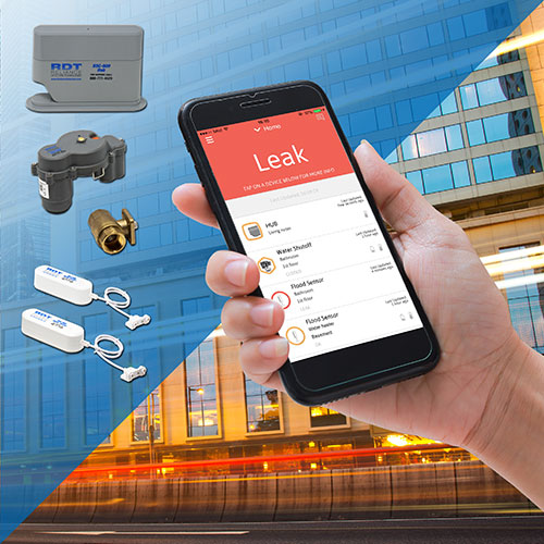 RSC-900 wireless, app-based plumbing leak detection and automatic shutoff system